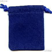 Drawstring Pouch 5x7.5 Blue Velour Bag for Coins & Valuables