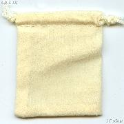 Drawstring Pouch 3x4 Cream Velour Bag for Coins & Slab Coins