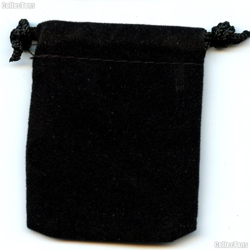 Drawstring Pouch 4 x 5 1/2 Black Velour Bag for Coins & Valuables