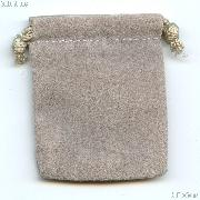 Drawstring Pouch 3x4 Grey Velour Bag for Coins & Slab Coins