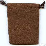 Drawstring Pouch 2 x 2 1/2 Brown Velour Bag for Coins & Valuables