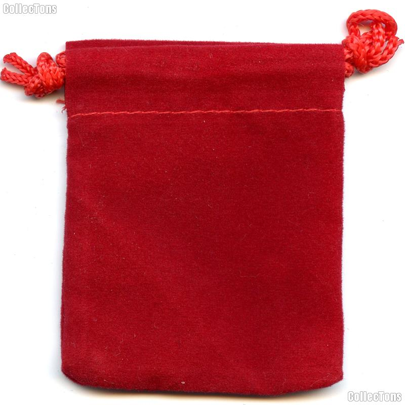 Drawstring Pouch 2 x 2 1/2 Red Velour Bag for Coins & Valuables