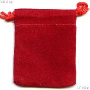 Drawstring Pouch 4 x 5 1/2 Red Velour Bag for Coins & Valuables