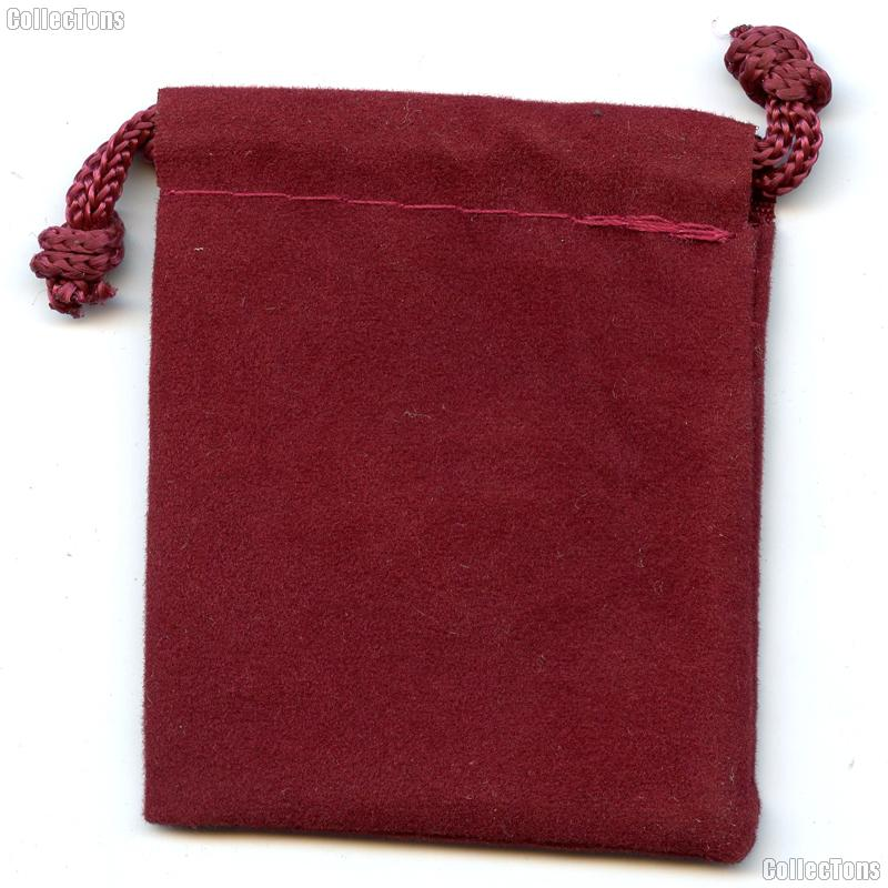Drawstring Pouch 2 x 2 1/2 Burgundy Velour Bag for Coins & Valuables