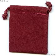 Drawstring Pouch 4 x 5 1/2 Burgundy Velour Bag for Coins & Valuables