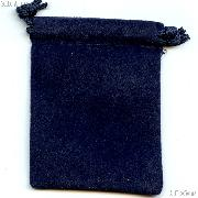 Drawstring Pouch 4 x 5 1/2 Navy Blue Velour Bag for Coins & Valuables