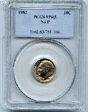 "1982 ""No P"" Roosevelt Dime in PCGS MS 65"