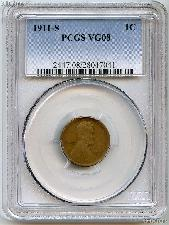 1911-S Lincoln Wheat Cent KEY DATE in PCGS VG 08