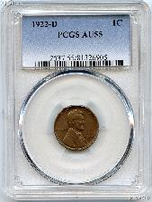 1922-D Lincoln Wheat Cent in PCGS AU 55