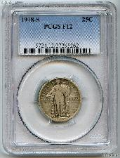 1918-S Standing Liberty Silver Quarter in PCGS F 12