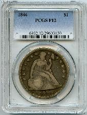 1846 Seated Liberty Silver Dollar in PCGS F 12