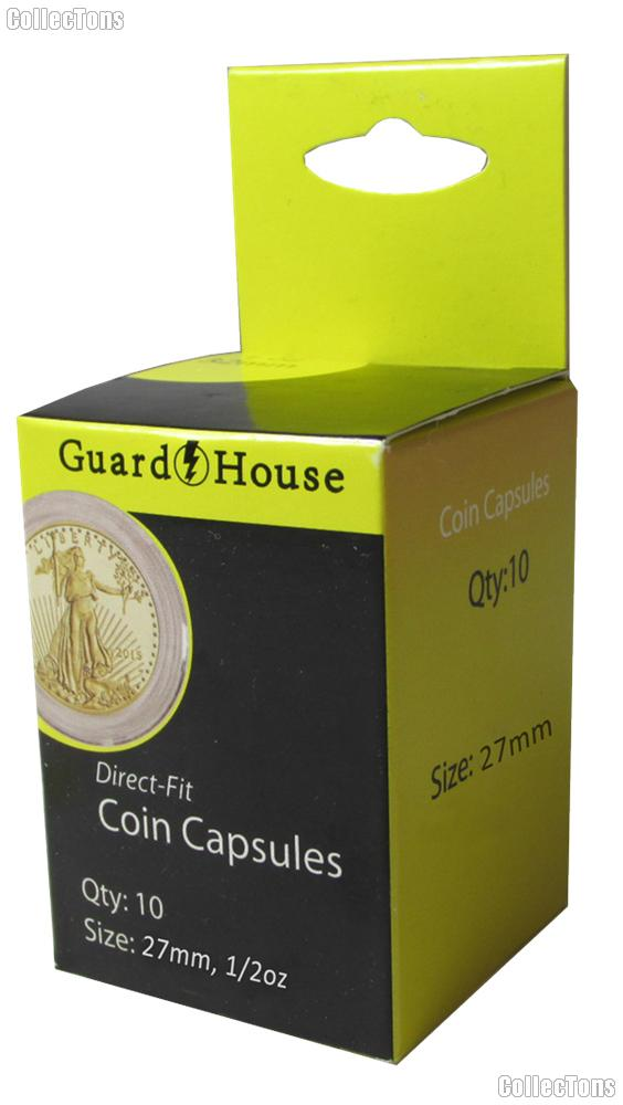 Guardhouse Box of 10 Coin Capsules for 1/2 oz GOLD EAGLES (27mm)