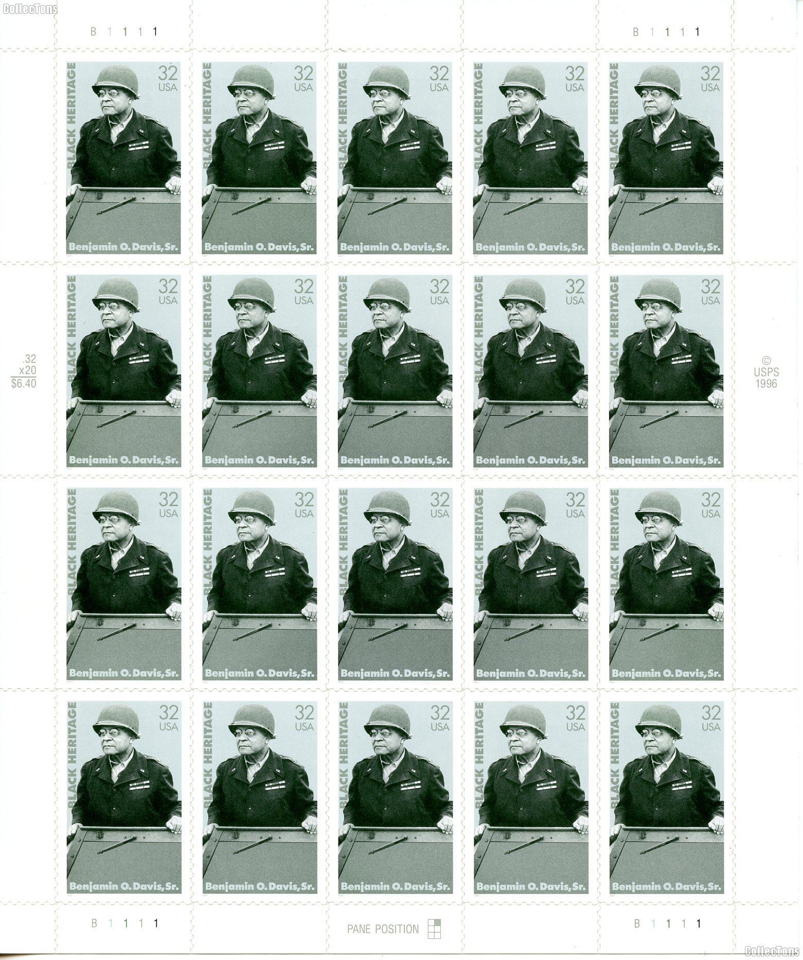 1997 Benjamin O. Davis Sr. 32 Cent US Postage Stamp Unused Sheet of 20 Scott #3121