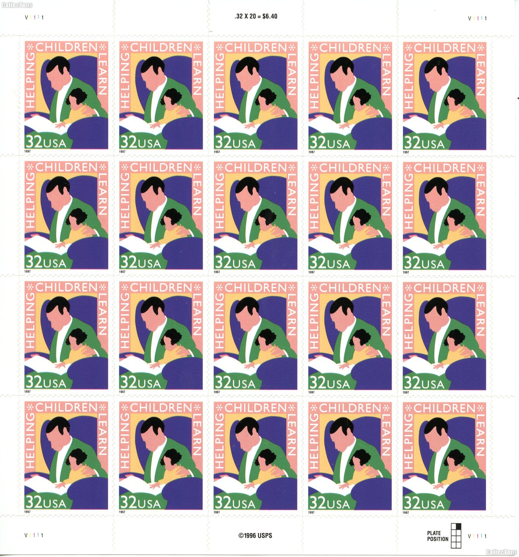 1997 Helping Children Learn 32 Cent US Postage Stamp Unused Sheet of 20 Scott #3125