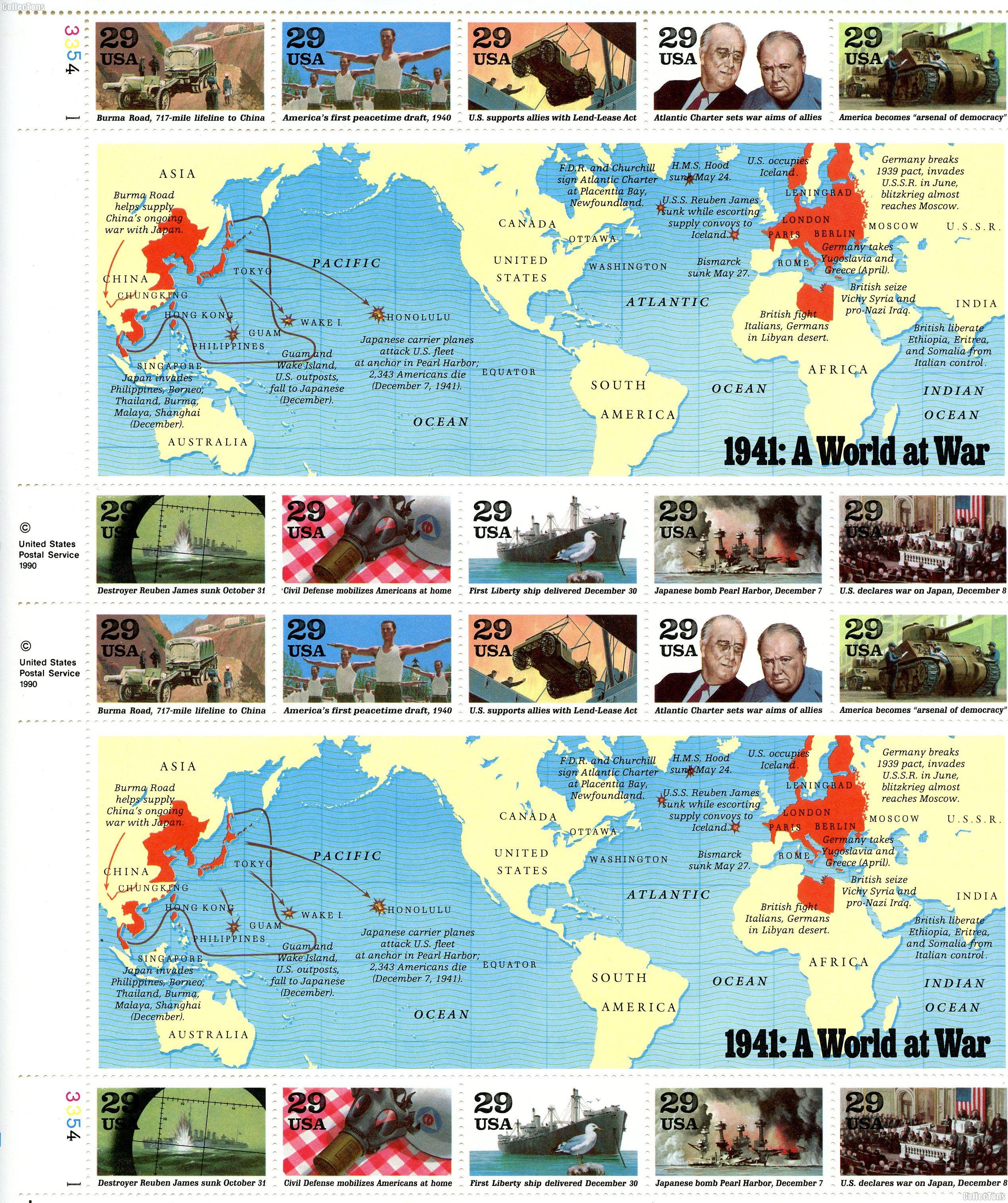 1991 World War II (A World at War) 29 Cent US Postage Stamp MNH Sheet of 20 Scott #2559