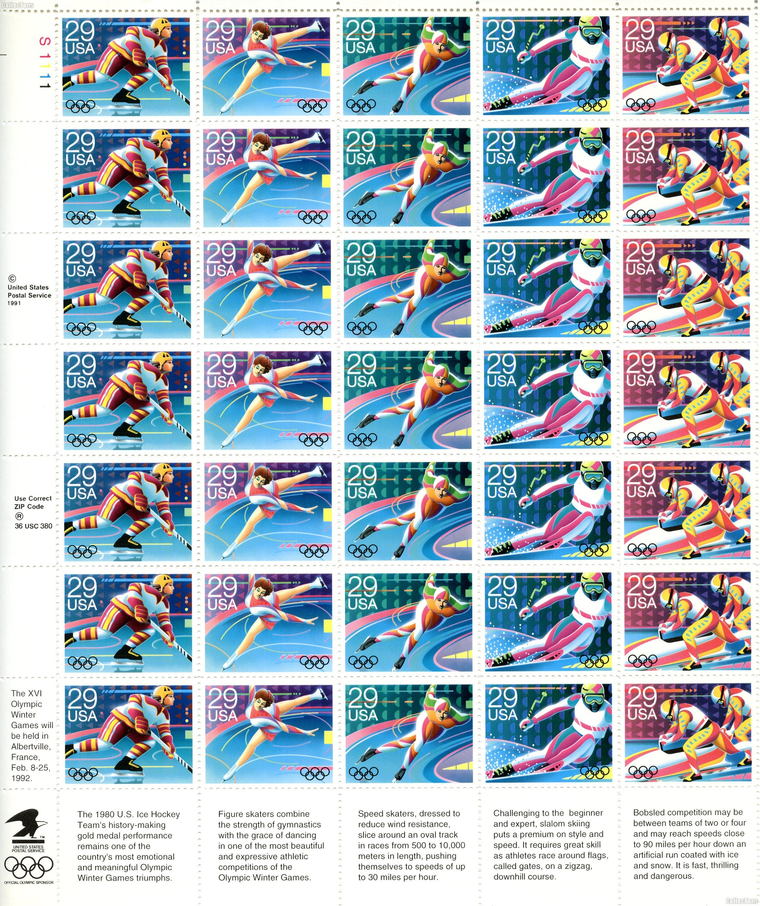 1992 Winter Olympics 29 Cent US Postage Stamp MNH Sheet of 35 Scott #2611-2615