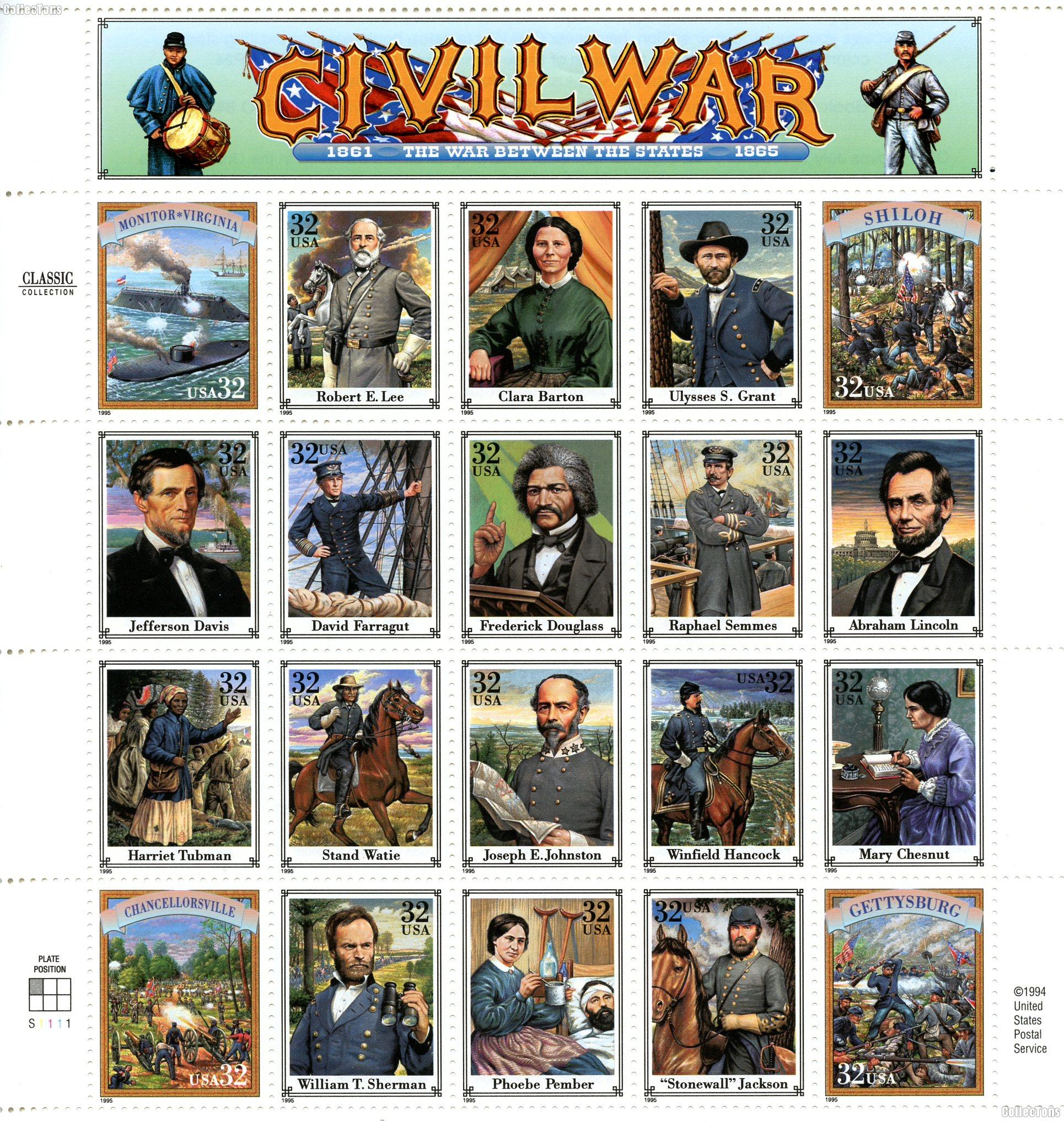 1995 Civil War 32 Cent US Postage Stamp MNH Sheet of 20 Scott #2975