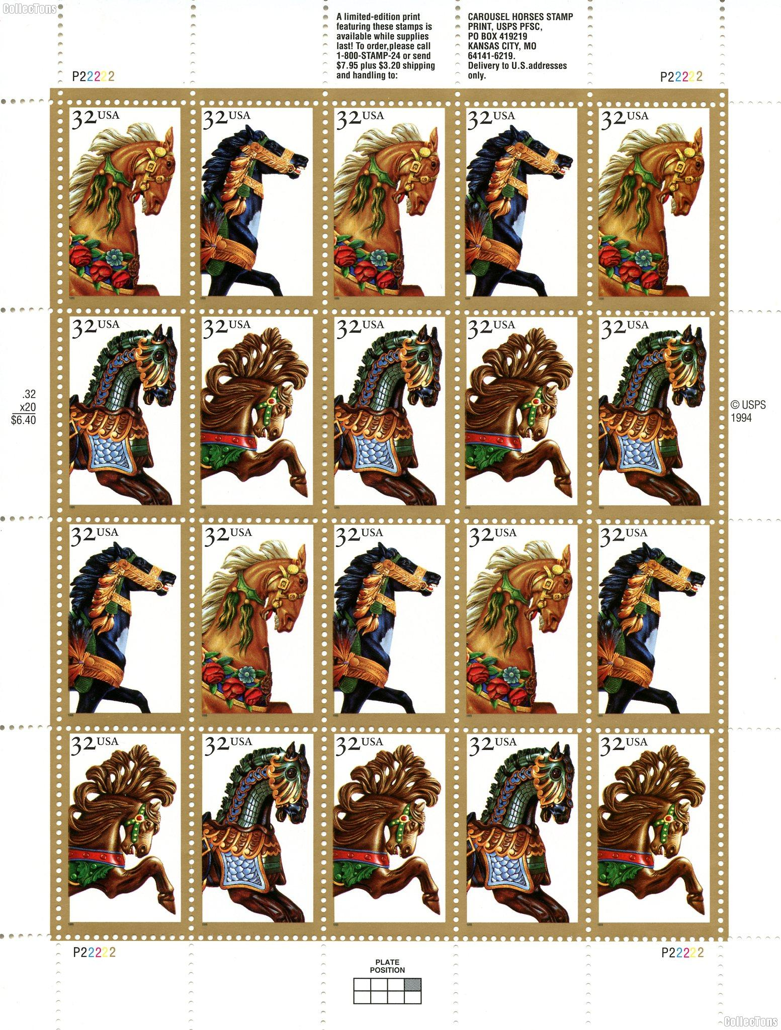 1995 Carousel Horses 32 Cent US Postage Stamp MNH Sheet of 20 Scott #2976-2979