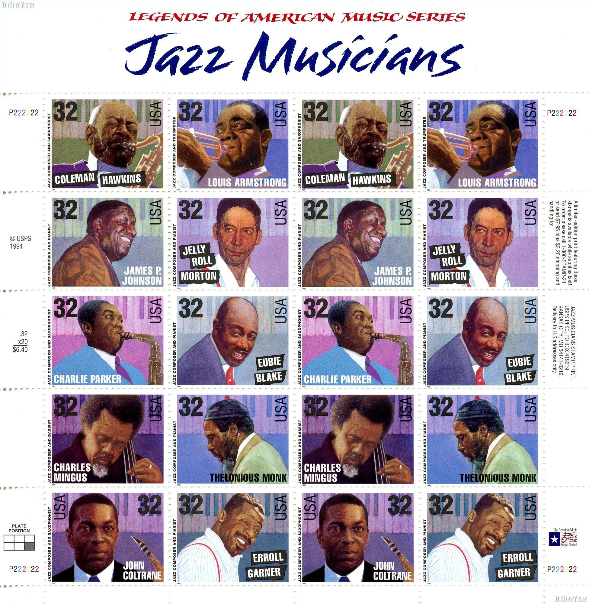 1995 Jazz Musicians 32 Cent US Postage Stamp MNH Sheet of 20 Scott #2983-2992