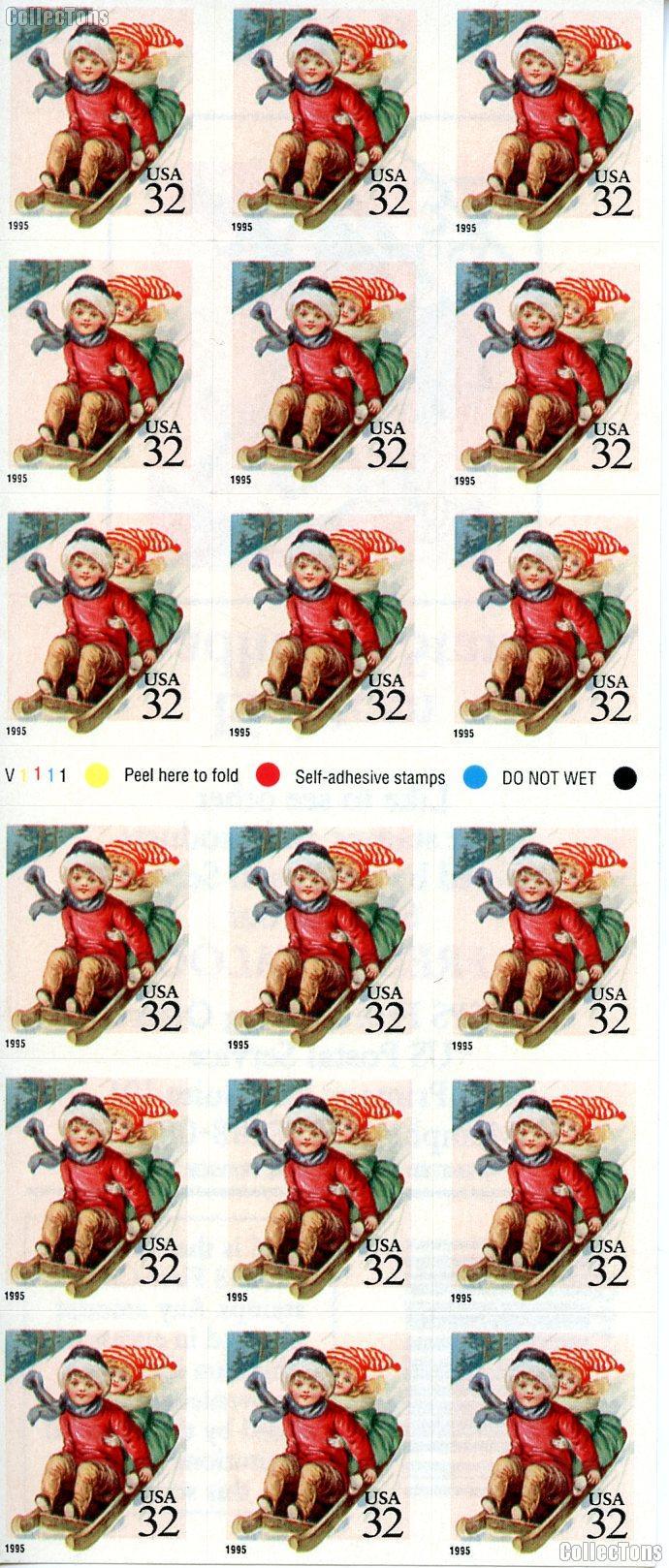 1995 Children Sledding 32 Cent US Postage Stamp MNH Booklet of 18 Scott #3013