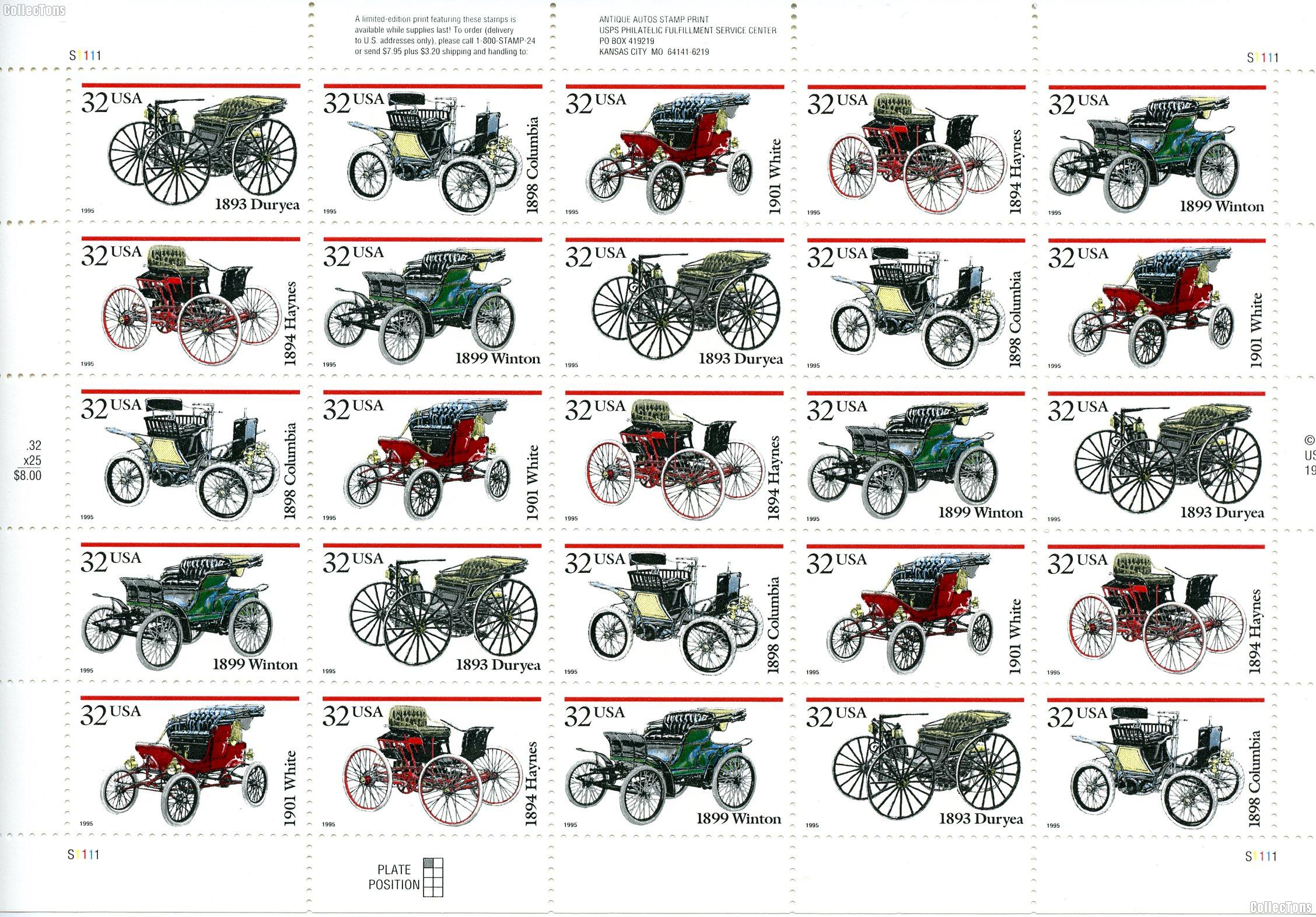 1995 Antique Automobiles 32 Cent US Postage Stamp MNH Sheet of 25 Scott #3019-3023