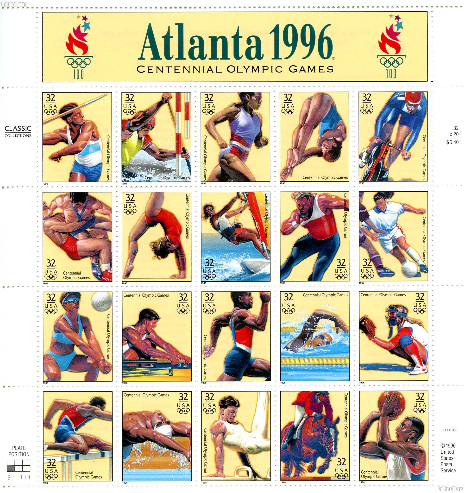 1996 Centennial Olympic Games 32 Cent US Postage Stamp MNH Sheet of 20 Scott #3068