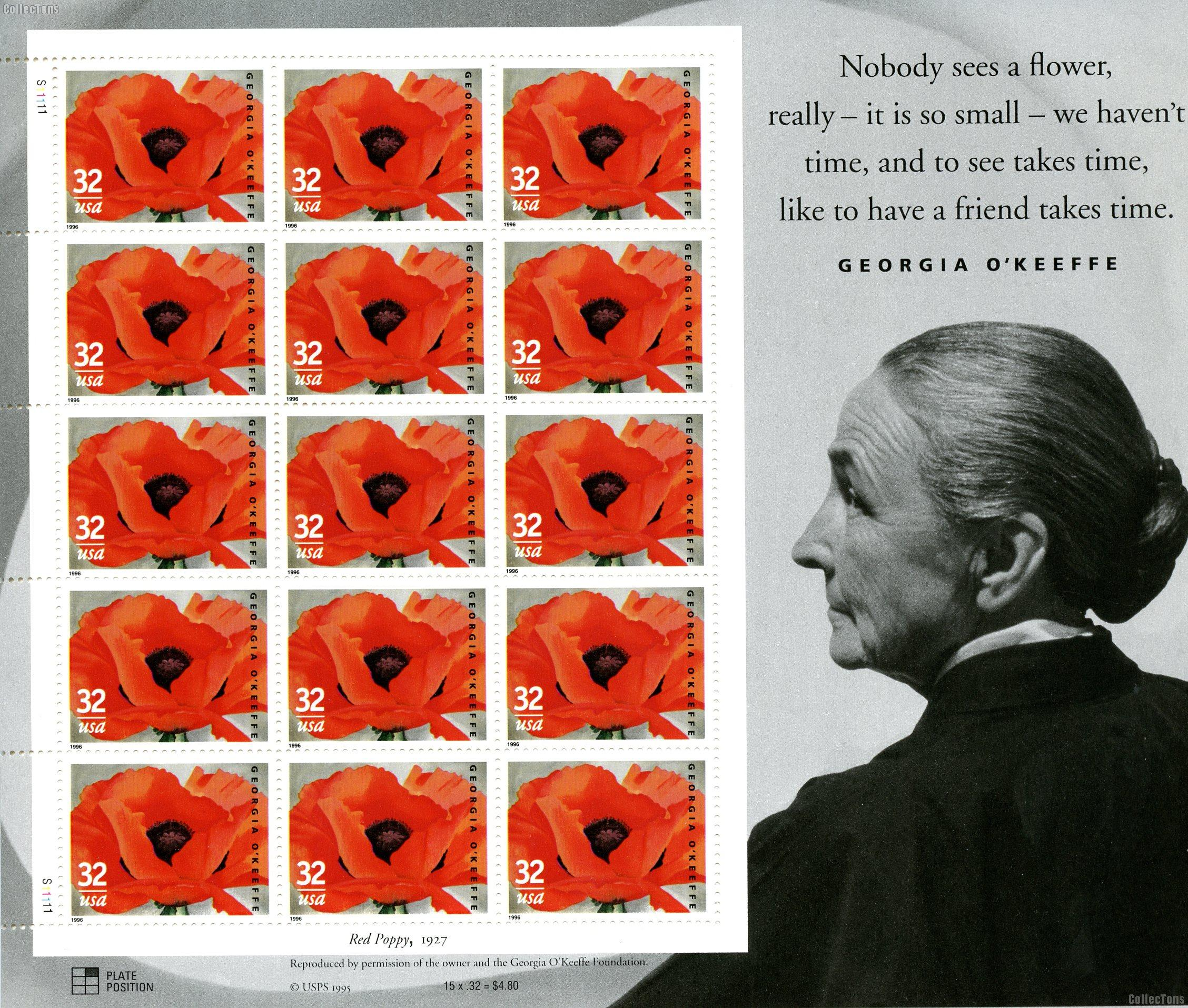 1996 Georgia O'Keeffe 32 Cent US Postage Stamp MNH Sheet of 15 Scott #3069