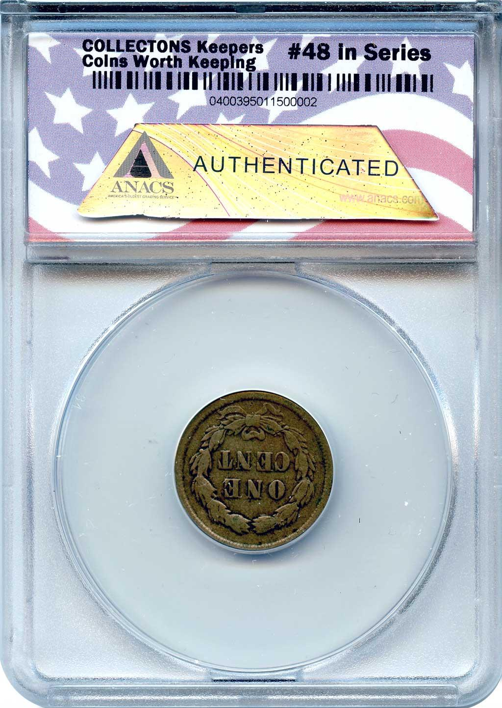 CollecTons Keepers #48: 1859 Type 1 Indian Head Cent with Laurel Wreath Certified in Exclusive ANACS Circulated Holder