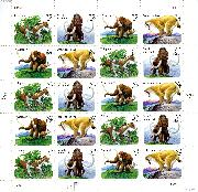 1996 Prehistoric Animals 32 Cent US Postage Stamp MNH Sheet of 20 Scott #3077-3080