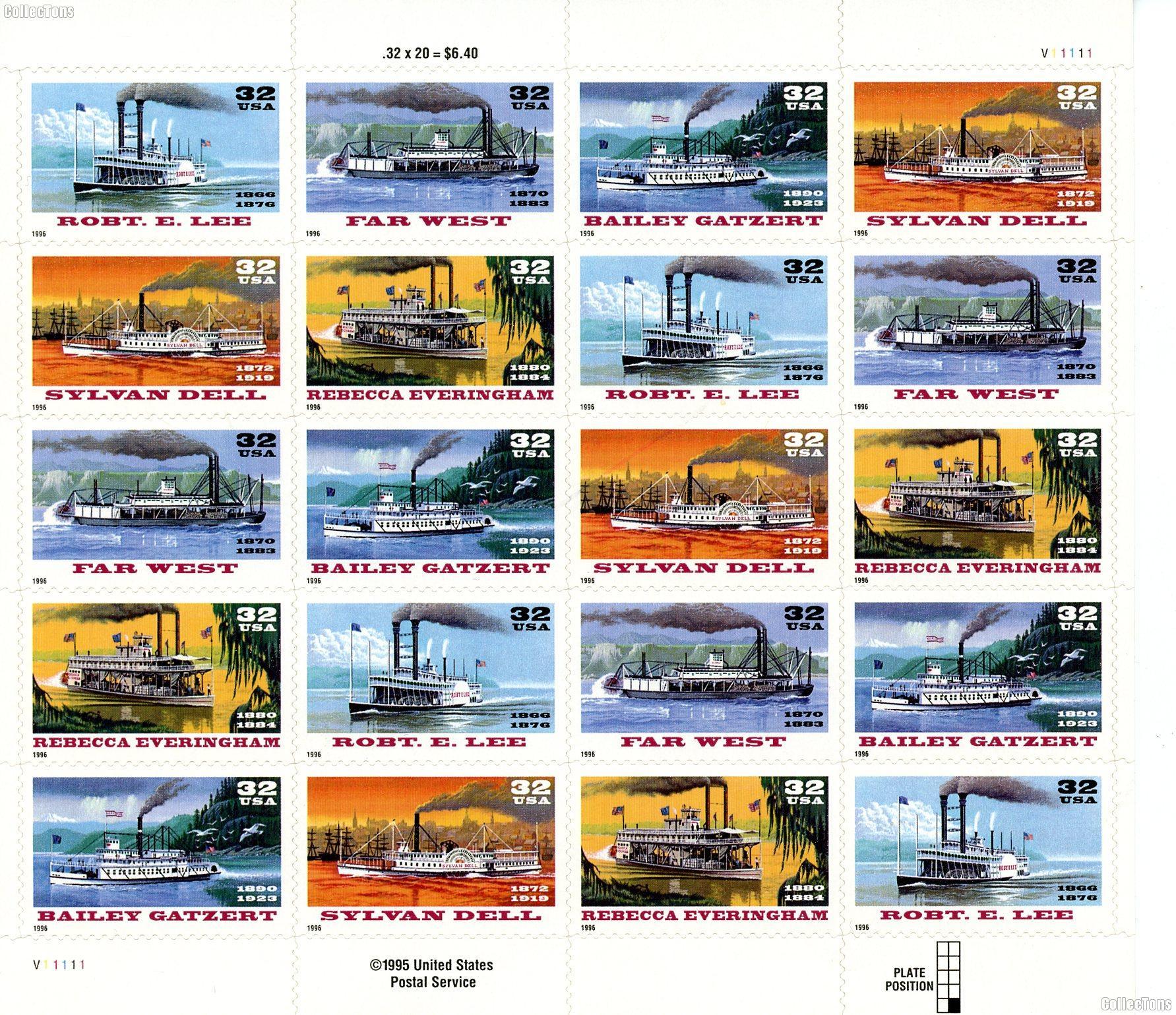 1996 River Boats 32 Cent US Postage Stamp MNH Sheet of 20 Scott #3091-3095