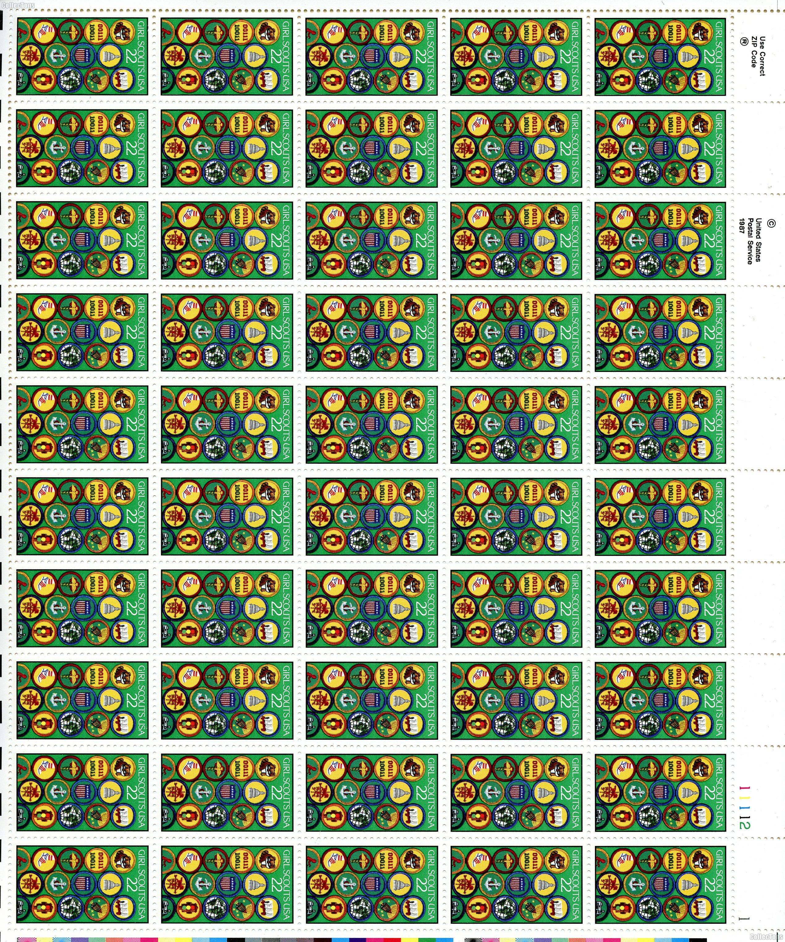 1987 Girl Scouts 22 Cent US Postage Stamp MNH Sheet of 50 Scott #2251
