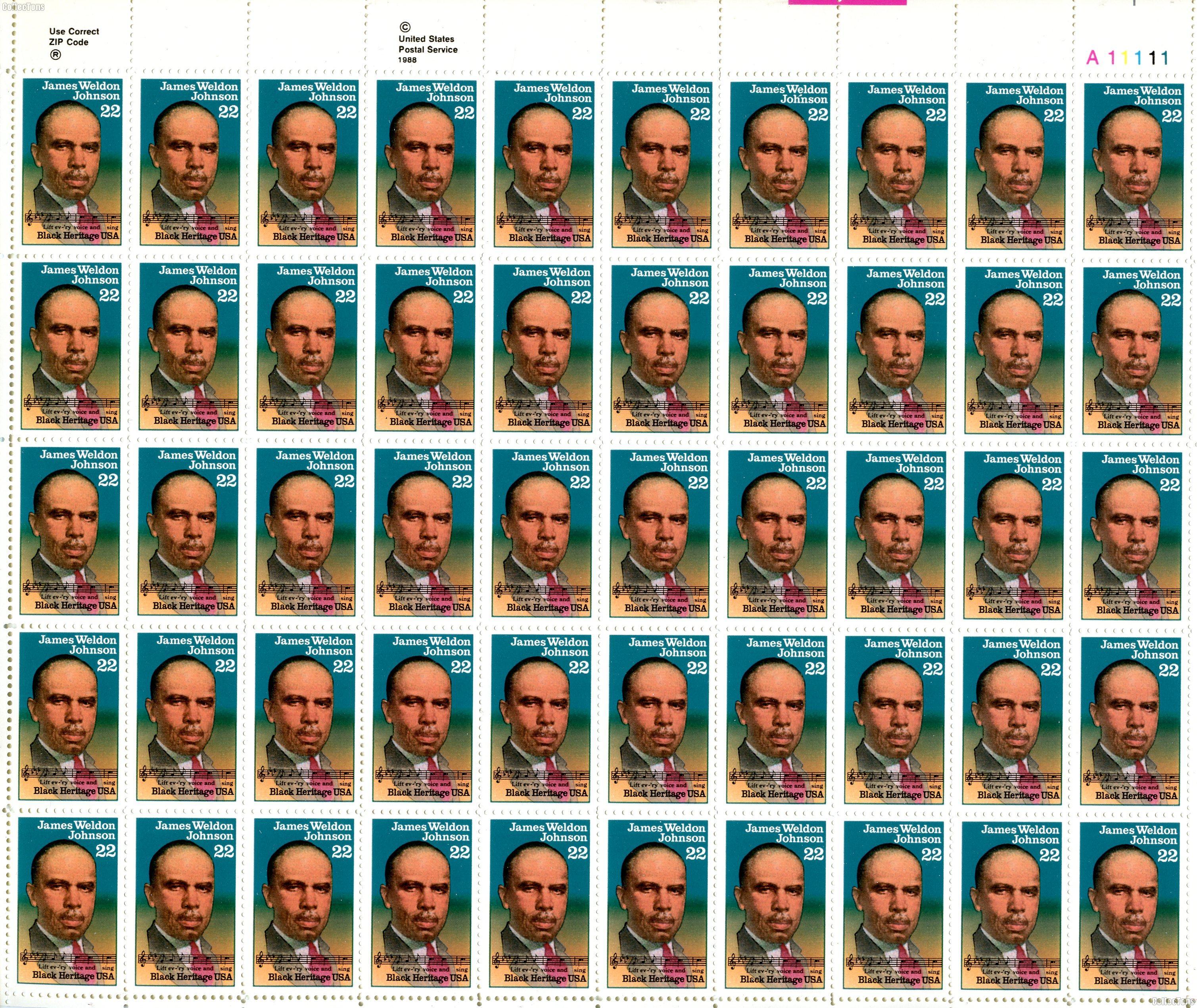 1988 James Weldon Johnson 22 Cent US Postage Stamp MNH Sheet of 50 Scott #2371