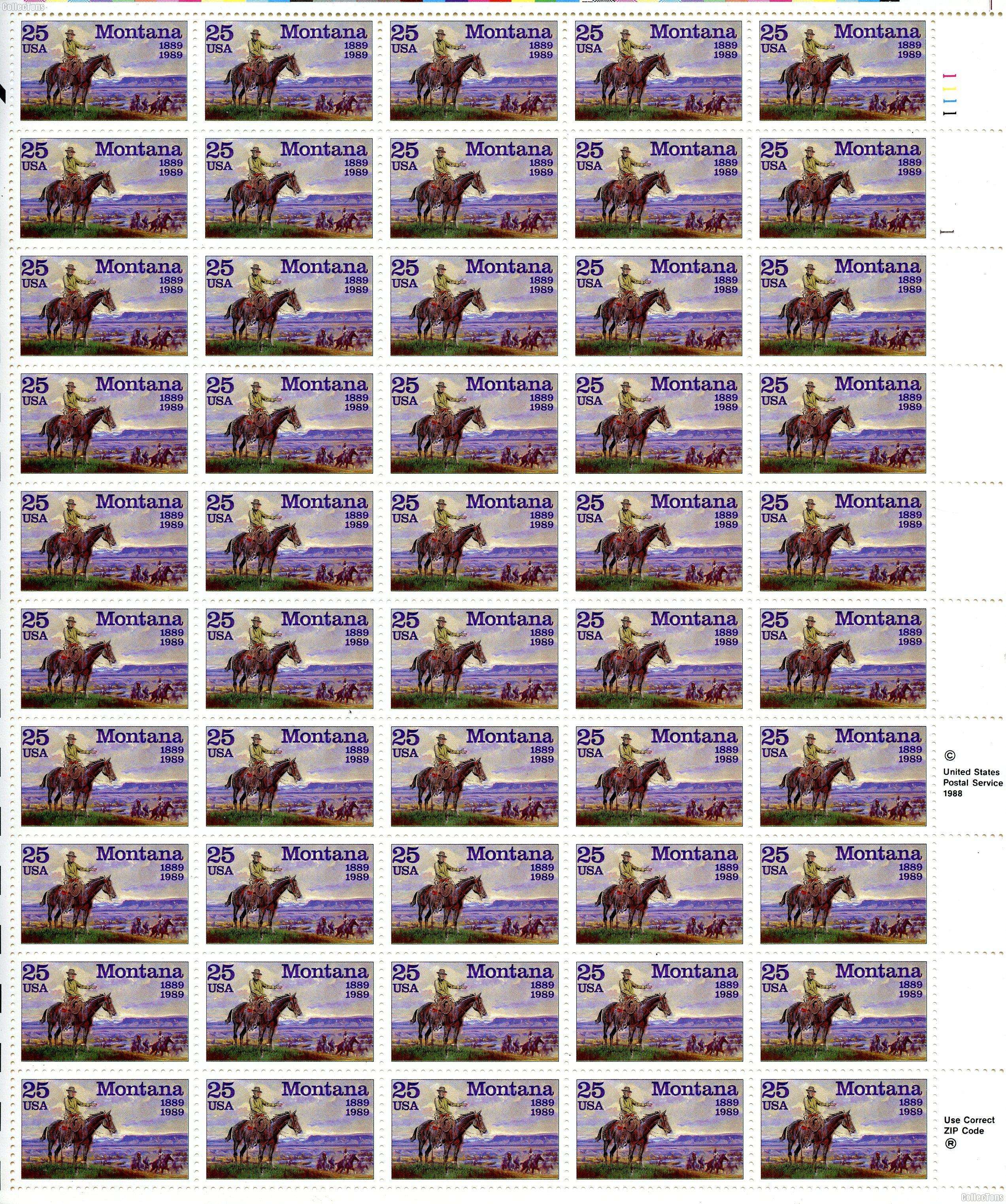 1989 Montana Statehood 25 Cent US Postage Stamp MNH Sheet of 50 Scott #2401