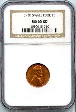 1960 Small Date Lincoln Memorial Cent in NGC MS 65 Red