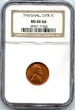1960 Small Date Lincoln Memorial Cent in NGC MS 66 Red