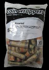 48 Mixed Preformed Coin Wrappers (Cents, Nickels, Dimes, Quarters)