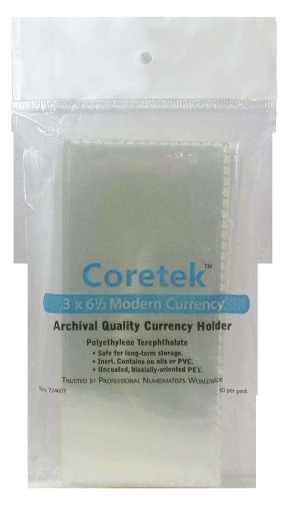 "Coretek 3"" x 6 1/2"" Modern Currency (Medium) Archival Quality Currency Holder"