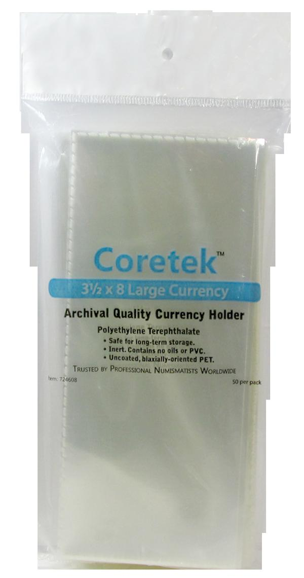 """Coretek 3 1/2"""" x 8"""" Large Currency Archival Quality Currency Holder"""