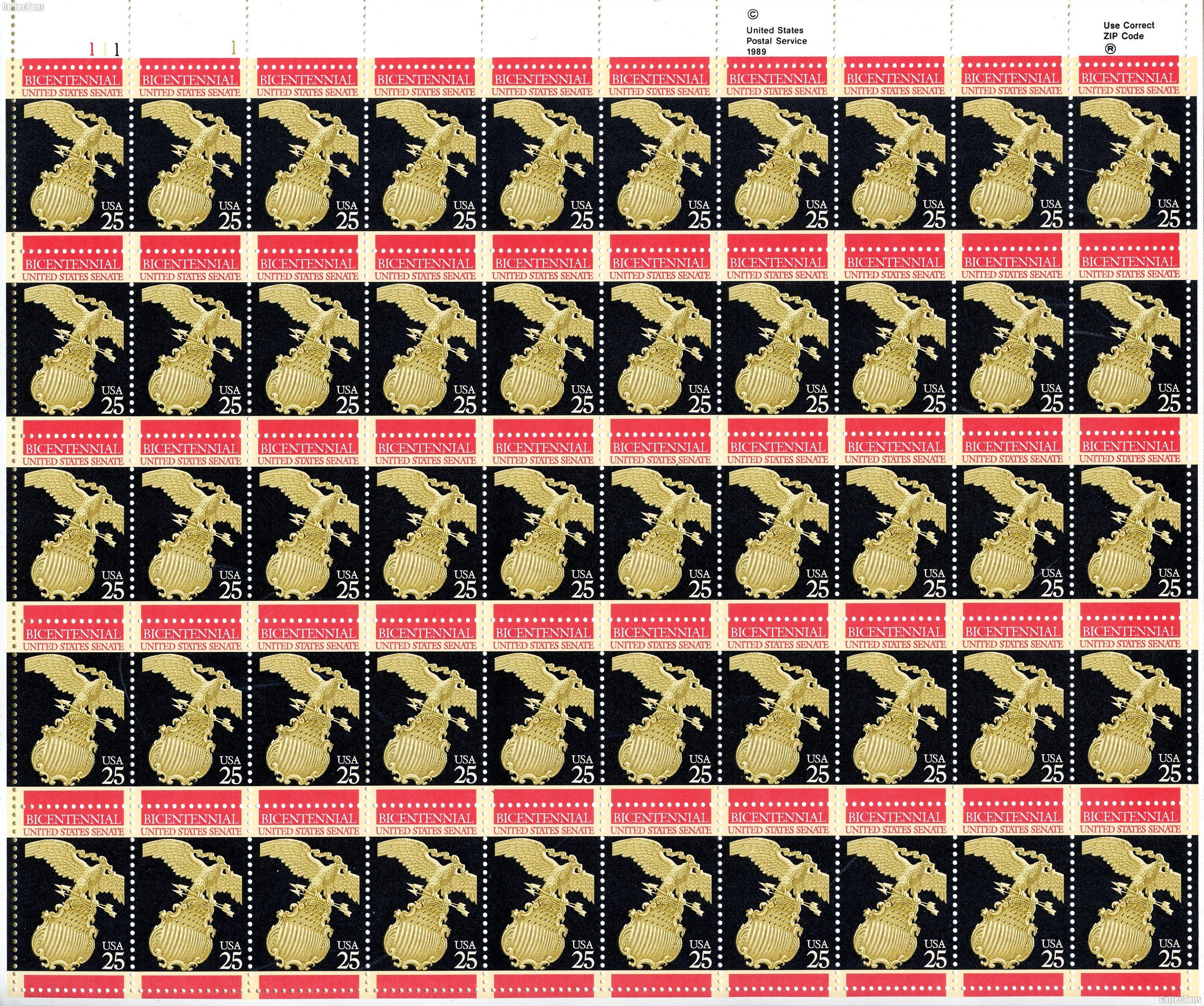 1989 U.S. Senate 25 Cent US Postage Stamp MNH Sheet of 50 Scott #2413