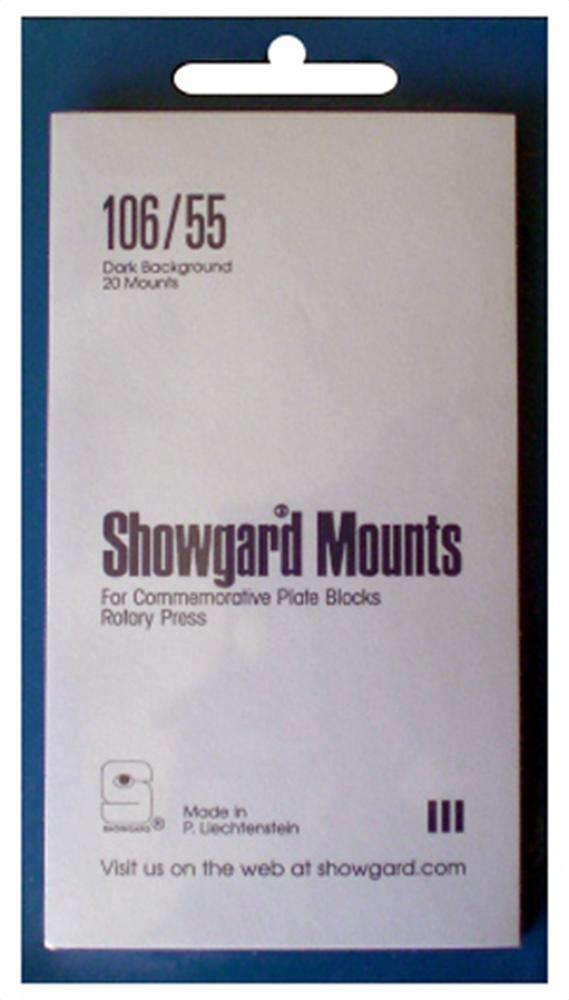 Showgard Pre-Cut Black Stamp Mounts Size 106/55