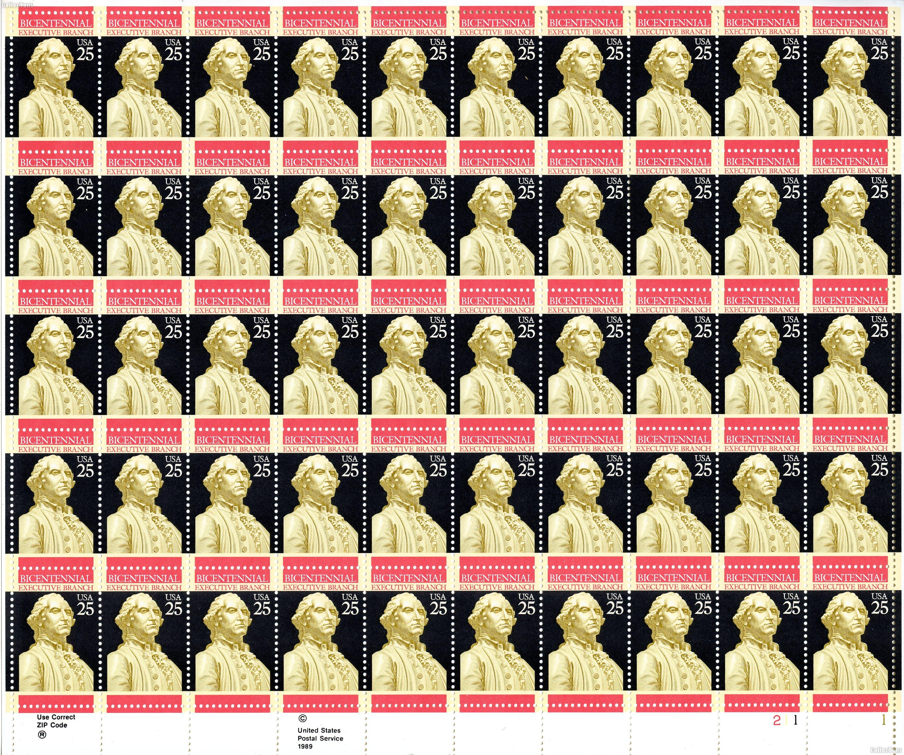 1989 Executive Branch and George Washington Memorial 25 Cent US Postage Stamp MNH Sheet of 50 Scott #2414