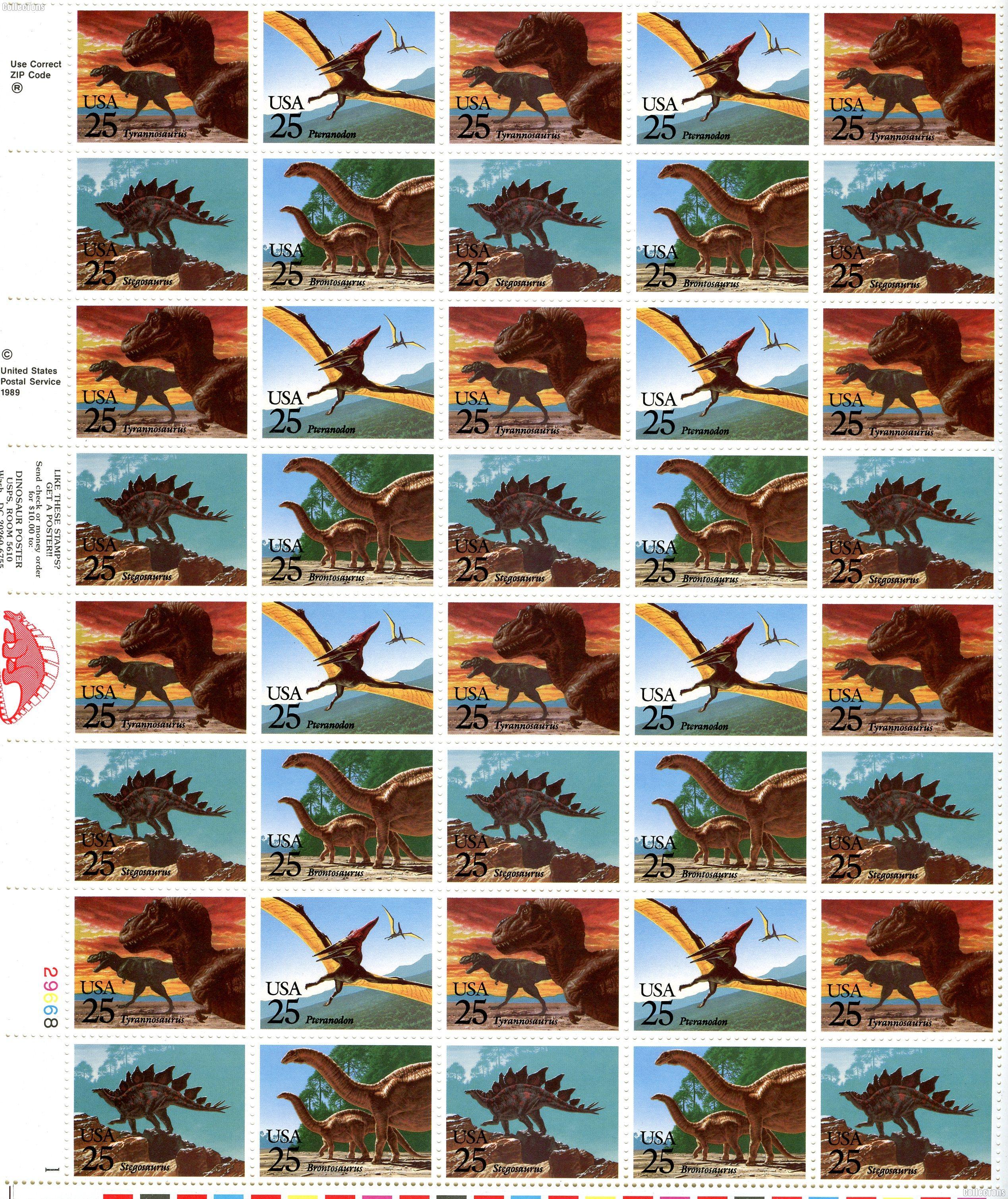 1989 Prehistoric Animals US Postage Stamp MNH Sheet of 50 Scott #2422-2425