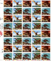1989 Prehistoric Animals US Postage Stamp MNH Sheet of 50 Scott #2422-2425