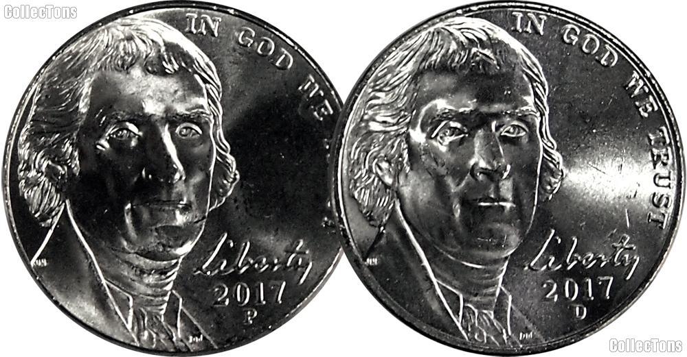 2017 P & D Jefferson Nickels Gem BU (Brilliant Uncirculated)