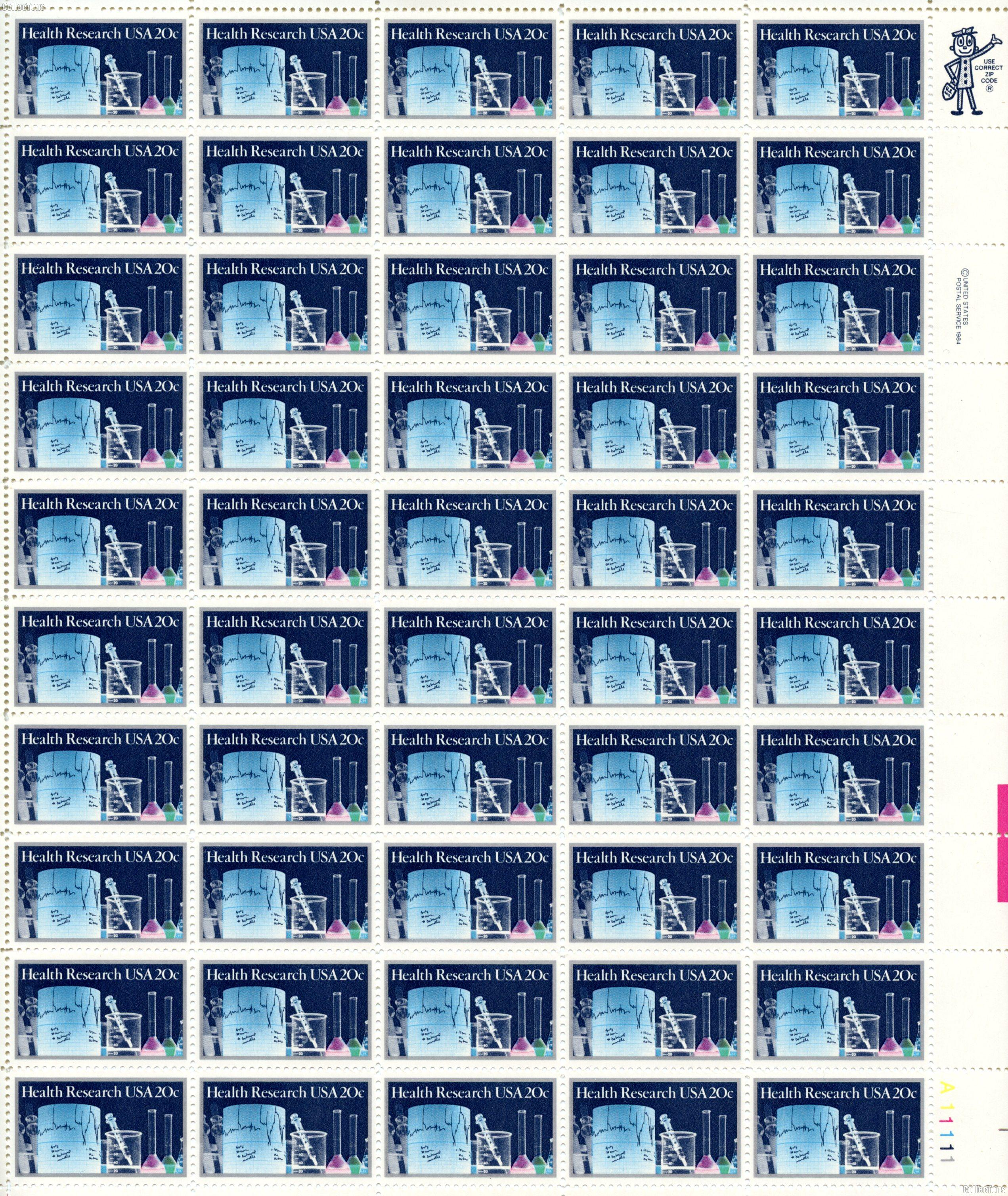 1984 Health Research 20 Cent US Postage Stamp MNH Sheet of 50 Scott #2087