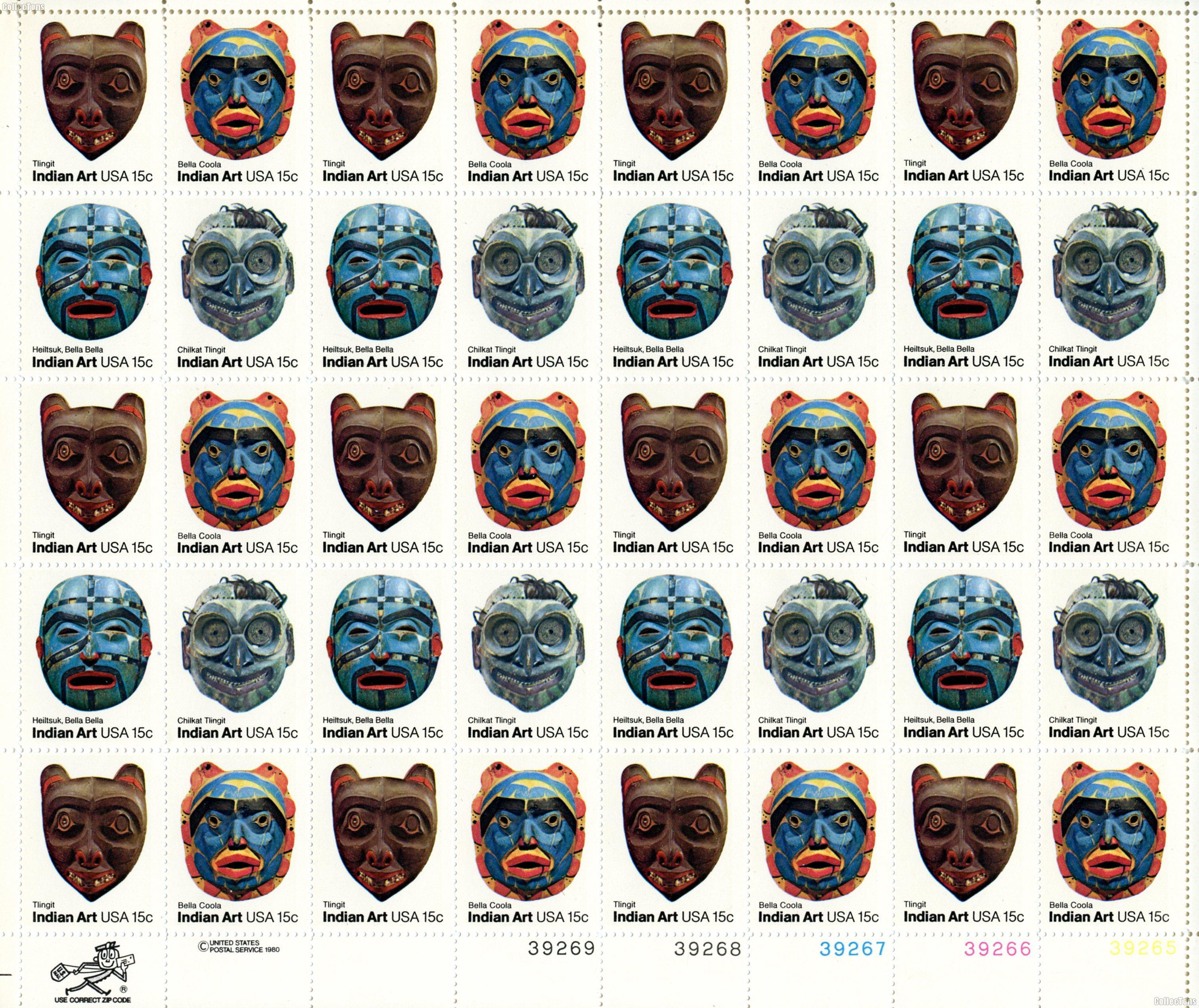 1980 Indian Masks 22 Cent US Postage Stamp MNH Sheet of 50 Scott #1834-1837