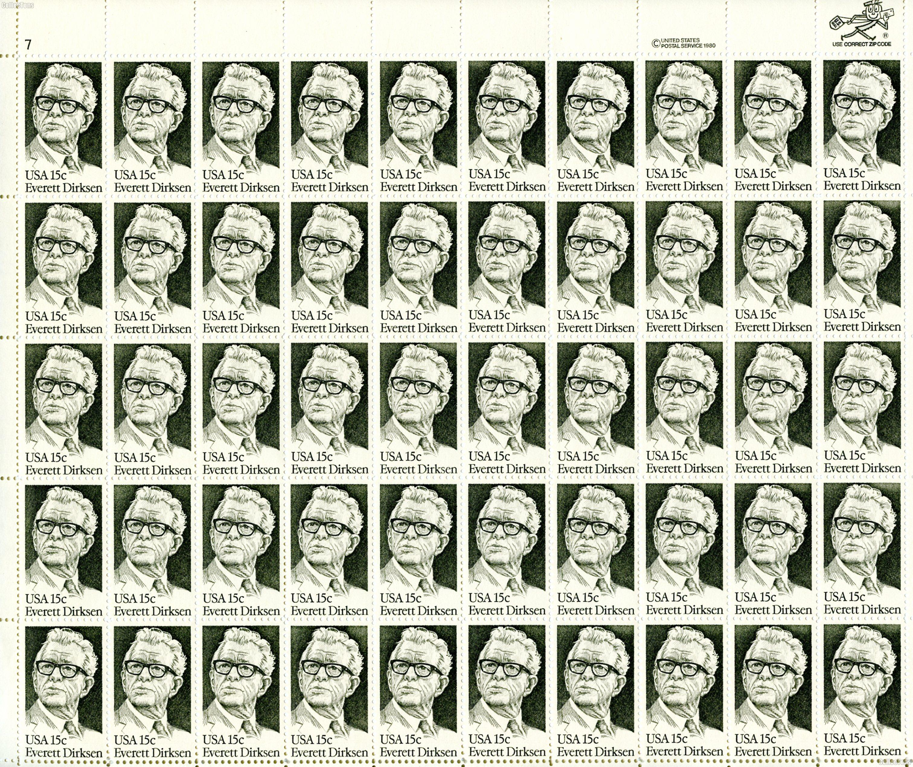 1981 Everett Dirksen 15 Cent US Postage Stamp MNH Sheet of 50 Scott #1874