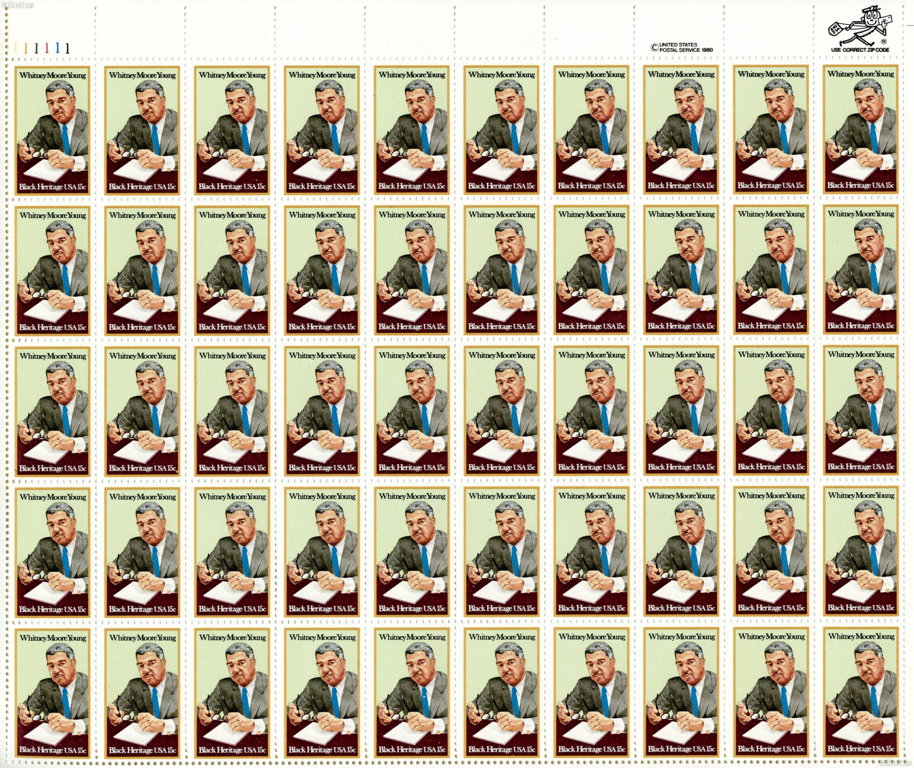 1981 Whitney Moore Young 15 Cent US Postage Stamp MNH Sheet of 50 Scott #1875