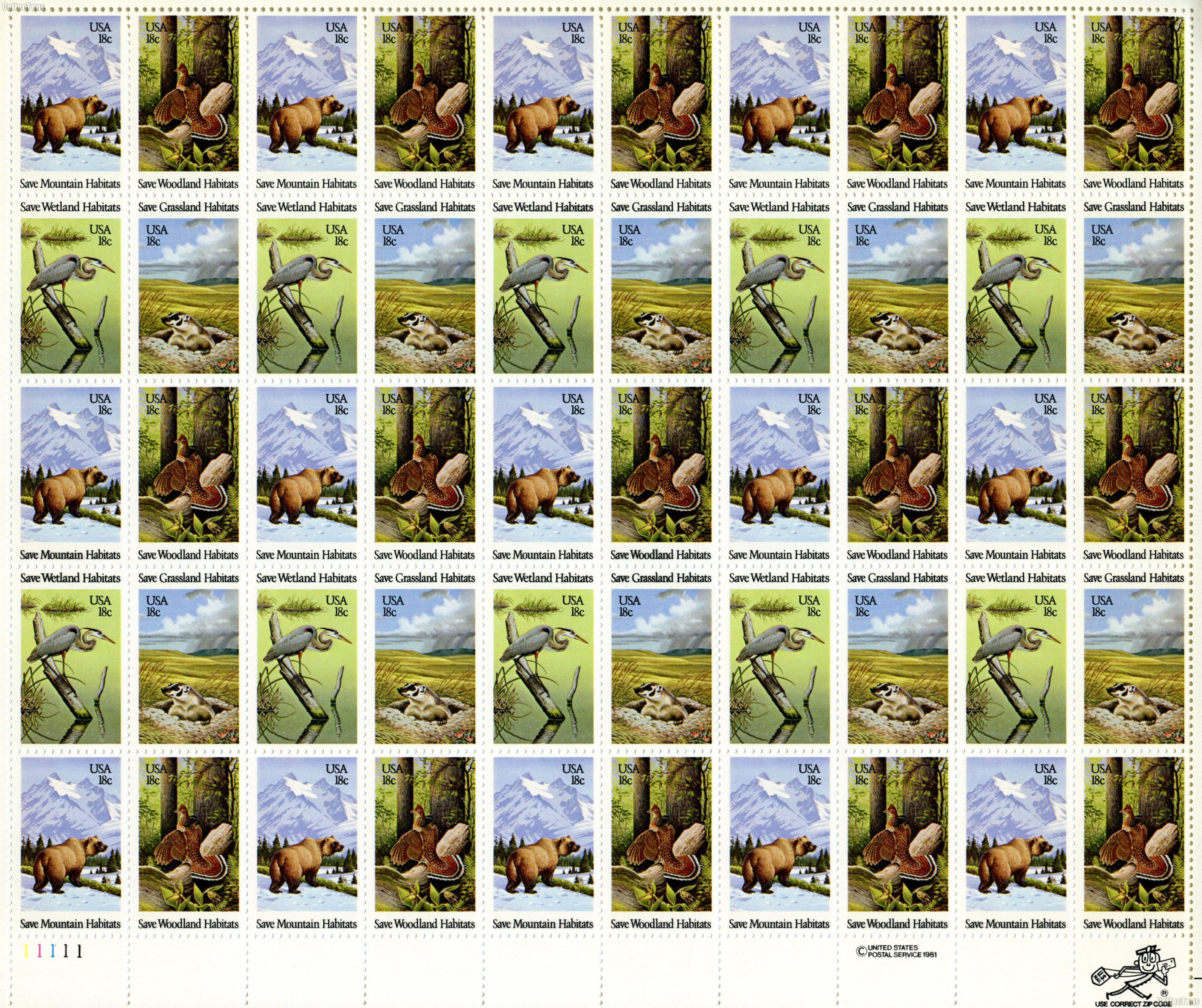 1981 Wildlife Habitats 18 Cent US Postage Stamp MNH Sheet of 50 Scott #1921-1924