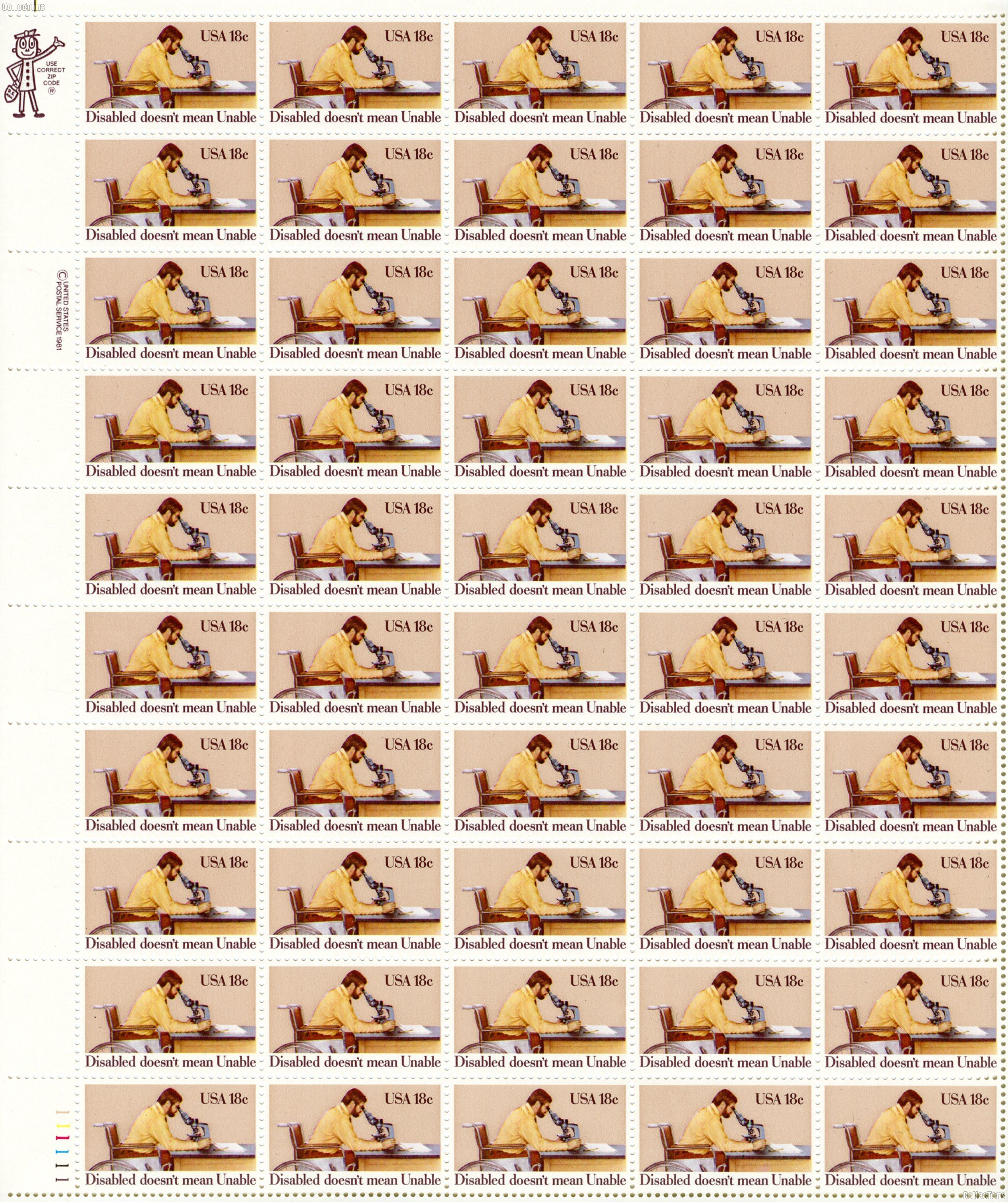 1981 Disabled Persons 18 Cent US Postage Stamp MNH Sheet of 50 Scott #1925